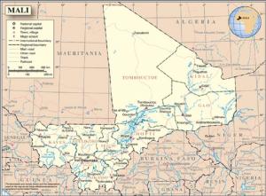 Ilustración 1: En el mapa se puede apreciar como la mayoría de las cuencas hídricas del país se encuentran en la región sur del país que a su vez es la zona en donde se concentra la mayoría de la población.Mapa de las regiones de Mali, Fuente: ONU. (s.f.) Mapa de Mali. Recuperado 05 de abril,2019, de: https://minusma.unmissions.org/en/map-mali