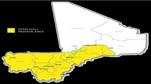 Ilustración 2: Área de actuación de la misión EUTM Mali. Fuente:EUTM Mali. (s.f)Mapa EUTM. Recuperado 05 de Abril, 2019, de http://eutmmali.eu/en/deployment/