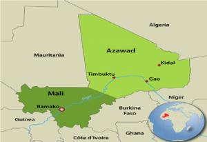 Ilustración 4: Mapa de Mali, en verde claro el territorio reclamado por los separatistas tuaregs. Fuente: https://www.warsintheworld.com/index.php/2012/06/10/mali-national-liberation-movement-of-azawad-mnla-and-ansar-dine-clashed-created-new-group-patriots-resistance-movement-for-the-liberation-of-timbuktu-against-secession-of-azawad/?no_mobile=1.